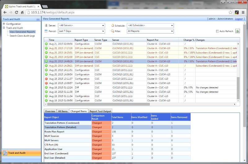 Track and Audit for Cisco to manage reports