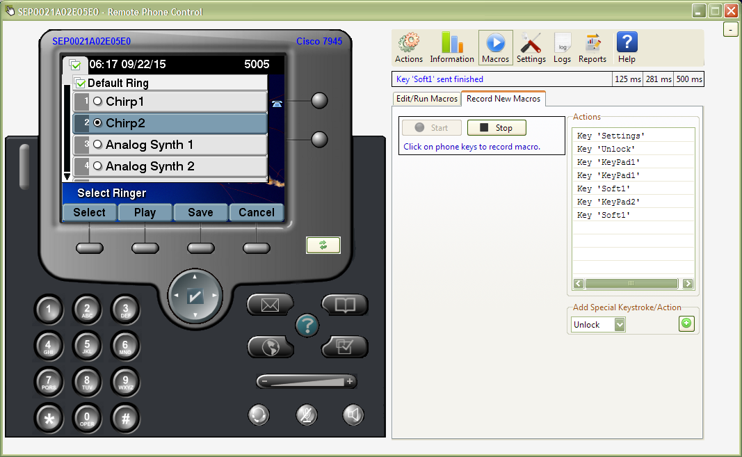 Phone Control Tool: Record key macro to change Cisco phone settings.