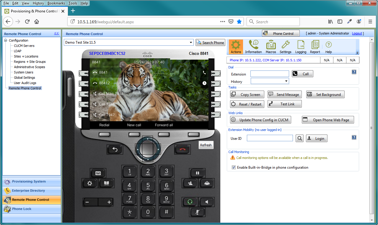 UPLINX Phone Control Tool - Web Edition interface