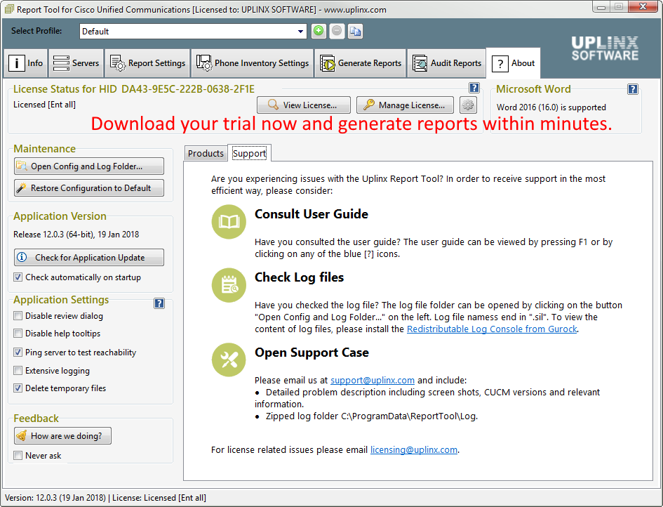 report-tool-cisco-screenshot-about